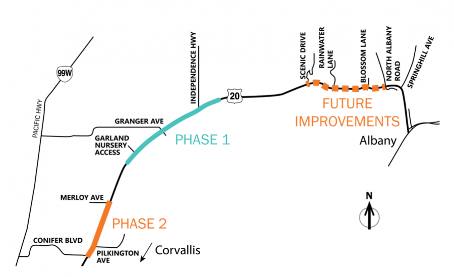 Each phase of Highway 20 safety reconstruction, starting with Phase 1 on the major bend of the highway and ending with Phase 2, which will redo the road between Merloy Avenue and Conifer Boulevard.