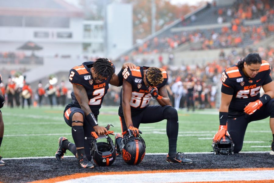 In this file photo from 2019, OSU Football players prepare for their matchup versus #15 Utah on Oct. 13. The Beavers fell short against Utah in their 2020 rematch, 30-24.