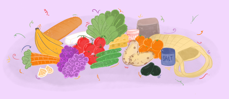This illustration depicts fruits, veggies, and staple food items. The picture represents the importance of having good resources for nutrition.
