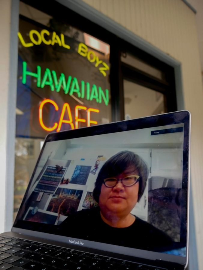 Triage+Counselor+Xia+Wang+in+front+of+Local+Boyz+Hawaiian+Cafe+directly+across+from+Oregon+State%E2%80%99s+Kearney+Hall.+Recently%2C+Wang+allegedly+experienced+discrimination+when+her+name+was+purposefully+changed+to+a+more+American+sounding+name+for+her+order.