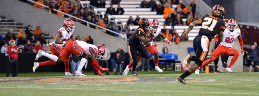 In this file photo from 2019, OSU Football redshirt sophomore wide receiver Tyjon Lindsey battles to gain ground against the Utah Utes defense on Oct. 12 in Reser Stadium. On Dec. 5, 2020, these two teams met once again, this time in Salt Lake City, with the Beavers falling short 30-24
