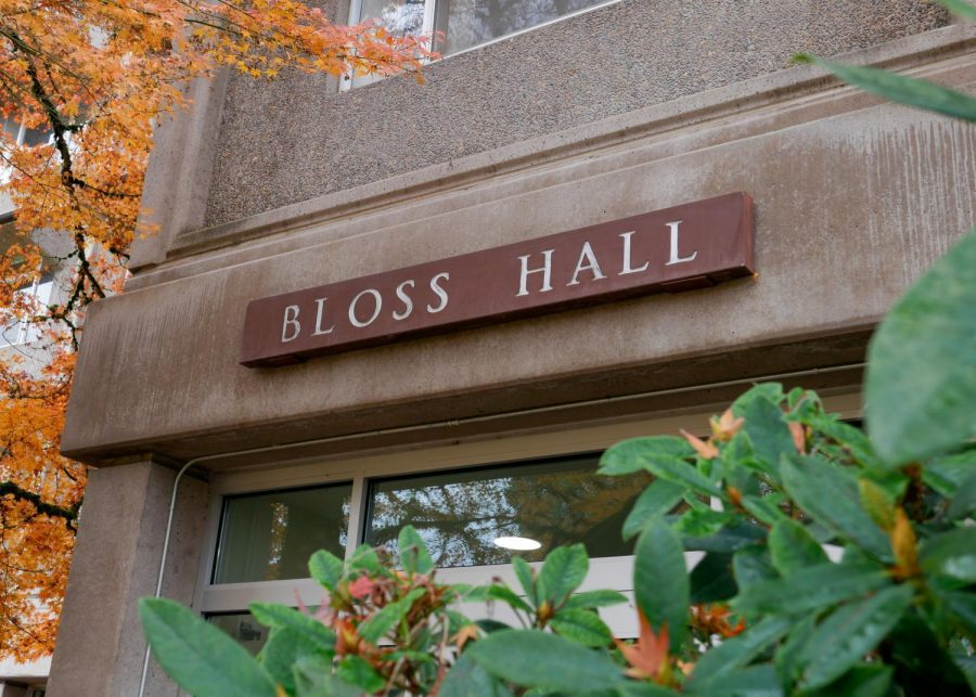 The front entrance of Bloss Hall, one of the many on-campus residence halls. With winter break coming up, on-campus residents are still being advised to not participate in gatherings of larger than 10 people in Oregon. These guidelines are to be followed as well as the guidelines of Governor Kate Brown's two-week freeze.