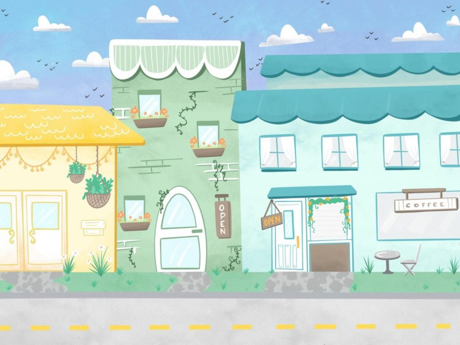 An illustration of downtown Corvallis.