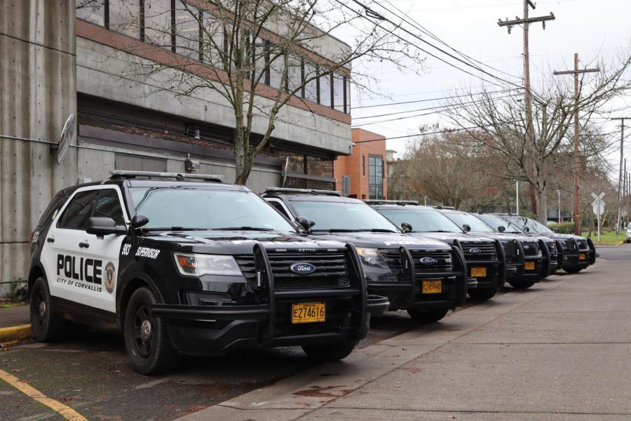 Corvallis+police+vehicle+can+be+seen+in+the+following+photo.+With+the+introduction+of+a+new+Corvallis+Police+Chief+maintaining+a+streamlined+COVID+is+vital+for+public+safety.