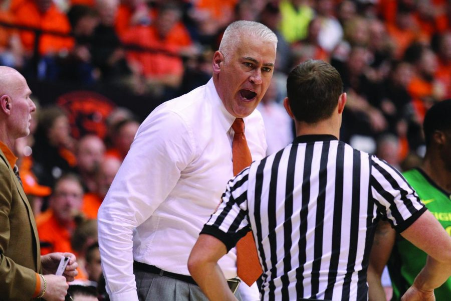 In this file photo from 2015, OSU Men's Basketball Head Coach Wayne Tinkle talks with one of the referees during the 344th meeting between the Beavers and the rival Oregon Ducks in Gill Coliseum on March 4. This season, Oregon State is 5-4, and has yet to play a game since Jan. 4 due to COVID-19 safety restrictions.