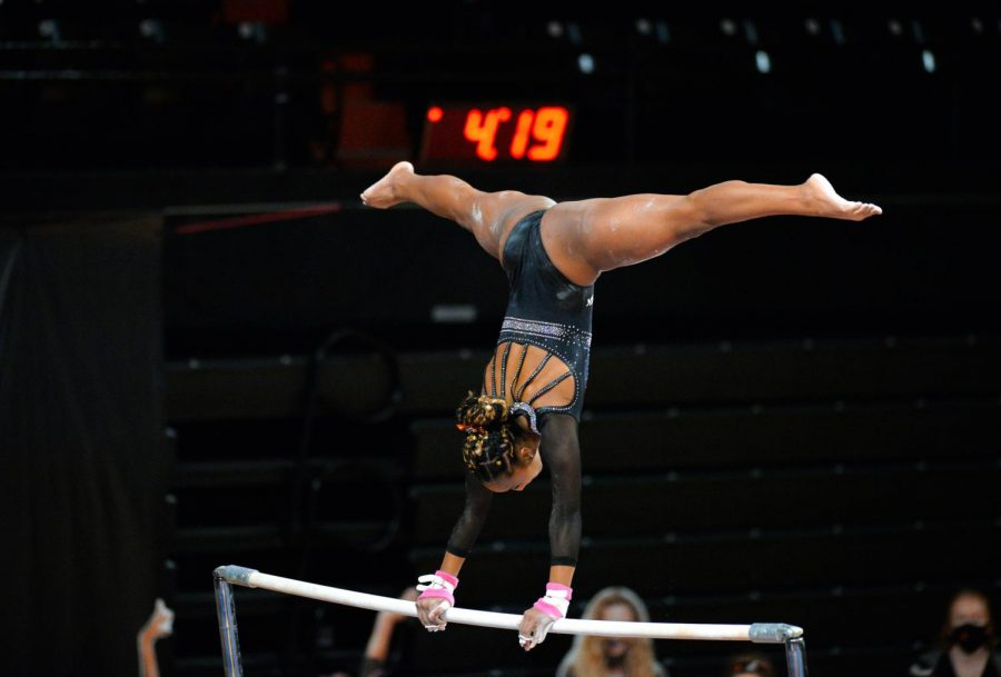 Senior Niya Mack performs her bar routine.OSU lost their first meet at home against Boise 194.250 to 191.950.