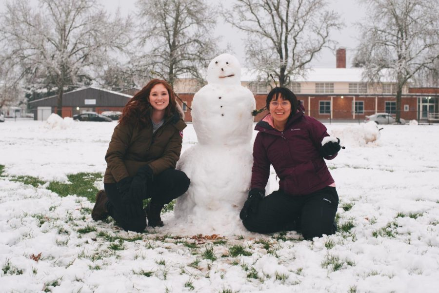 Claire+Mihm+%28left%29+and+Lauren+Cleary+%28right%29+pose+with+one+of+the+many+snowmen+that+popped+up+at+Chintimini+Park+on+Tuesday.%C2%A0Mihm+stated%2C+%E2%80%9CThis+is+my+first+snowman%2C+I%E2%80%99m+from+California.%E2%80%9D