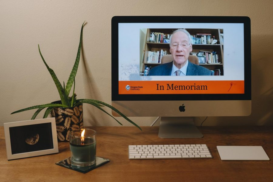 President Emeritus Ed Ray addresses the OSU students, alumni, and parents via Zoom for In Memoriam. The OSU In Memoriam was delivered remotely this year featuring several speakers, musicians, and a poet.