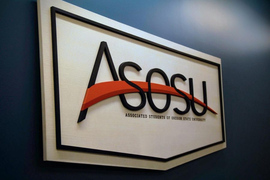 The Associated Students of Oregon State University sign hangs in the ASOSU office.