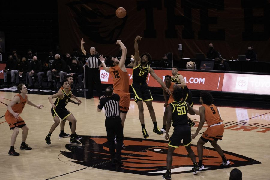 The Oregon State University Men's Basketball team faced off against the University of Oregon on March 7th at Gill Coliseum in this photo. The Beavers lost in the March 7 match against the Ducks, but got revenge in the PAC-12 tournament on their way to a tournament victory.