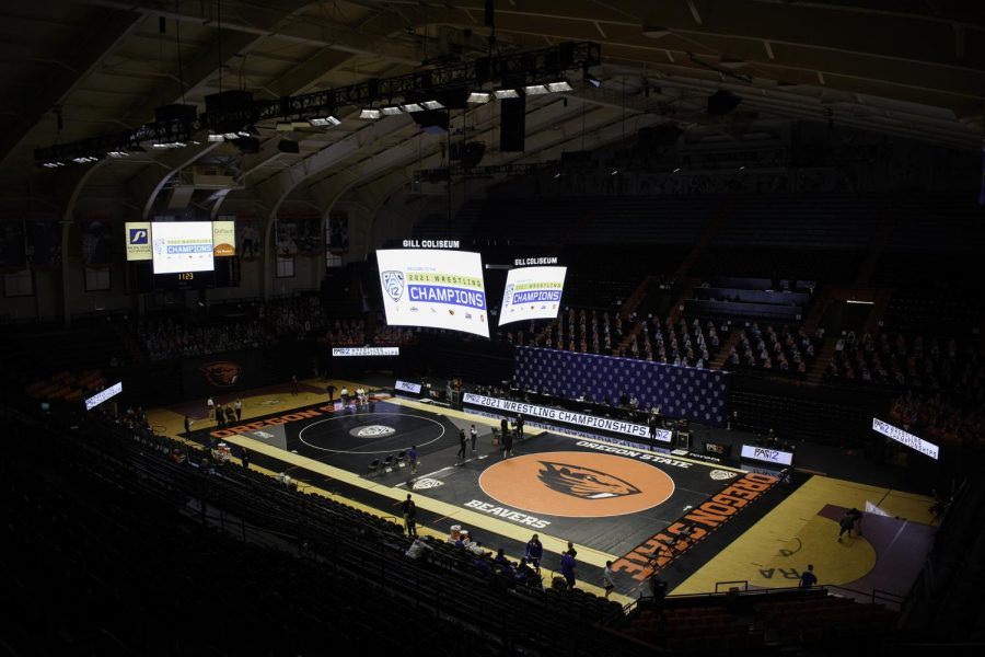 An empty Gill Coliseum plays host to the 2021 PAC-12 Wrestling championship. Oregon State finished second as a team in the event, while qualifying four members for the NCAA Tournament.