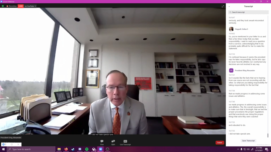 In a Zoom meeting on March 15, Oregon State University President F. King Alexander answered questions from members of OSU's faculty and staff in regards to theinvestigations into former Louisiana State University football coach Les Miles, conducted by law firm Husch Blackwell.