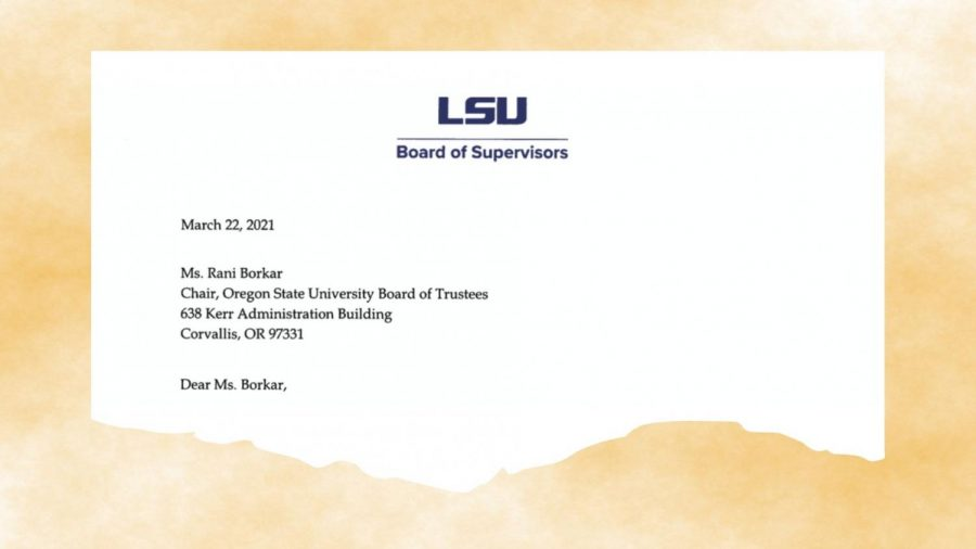Robert Dampf, chair of the Louisiana State University Board of Supervisors, has sent a letter to Rani Borkar, chair of the Oregon State University Board of Trustees, refuting several claims made by OSU President F. King Alexander.