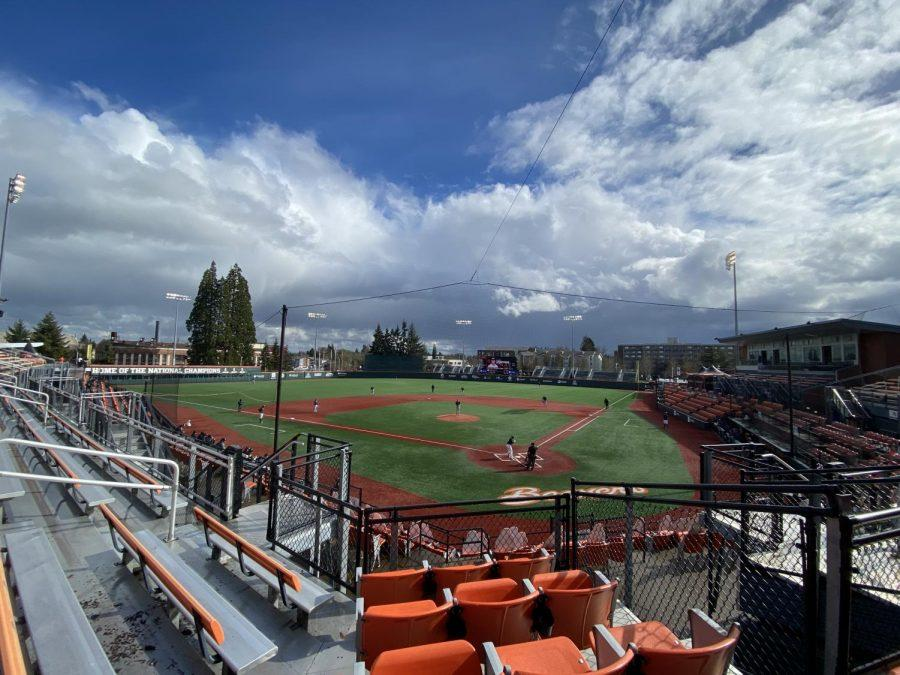 The+sun+shines+on+an+empty+Goss+Stadium+on+Mar.+6%2C+2021.+The+Beavers+opened+their+home+schedule+with+a+three+game+series+against+the+BYU+Cougars%2C+winning+all+three+games%2C+the+final+of+which+being+a+4-3+victory.