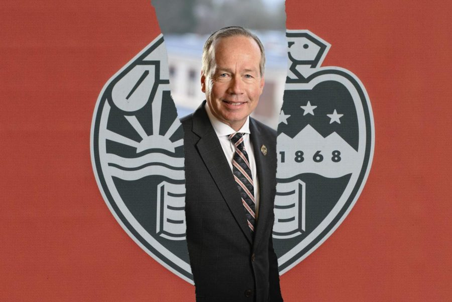 A photo illustration of Oregon State University President F. King Alexander pictured with the OSU logo. Alexander has now resigned after community outrage over howLouisiana State University handled complaints of sexual misconduct during Alexanders tenure as president of LSU.