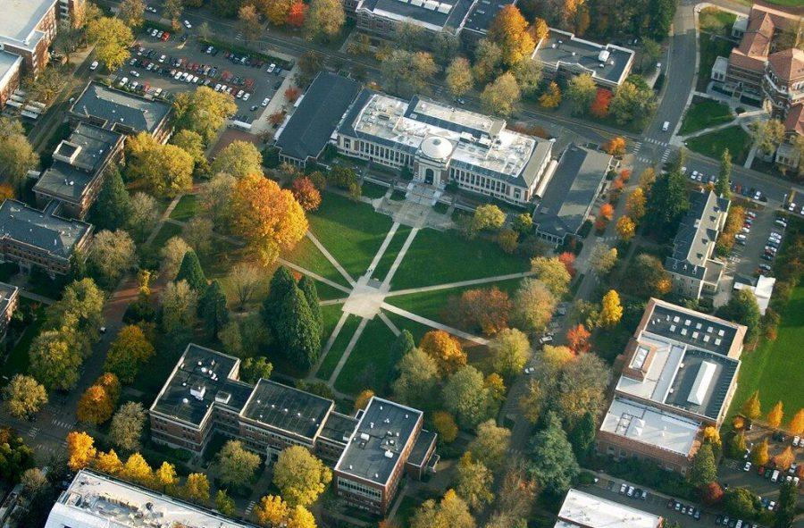 An aerial shot of Oregon State Universitys Memorial Union Quad in November of 2005.