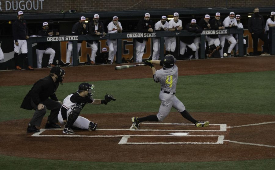 UofO freshman JoshKasevich misses a pitch during the first game of OSU vs UofO's triple header game on March 12th 2021. Although last year was a shorter than normal season due to COVID, Josh Kasevich Played in all 14 games starting nine of the 14 at third base.