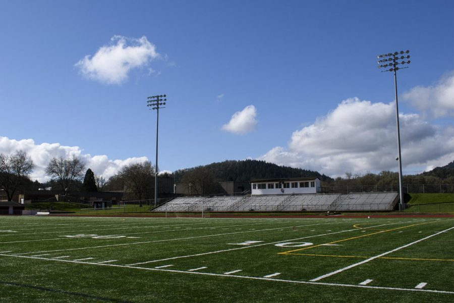 The Crescent Valley High School football field sits in silence since its last football game was played on Oct. 25 2020. Corvallis public high schools have begun to prepare for their six-week football season that will occur during the months of March and April.