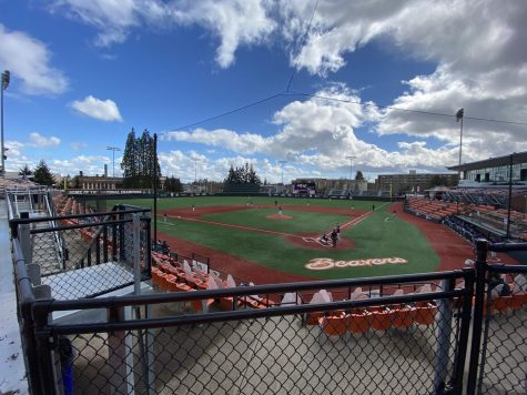 The Oregon State Beavers take the field against the BYU Cougars on a March 6 game at Goss Stadium. The Beavers would go onto win 4-3, grabbing their 10th consecutive win heading into PAC-12 play.