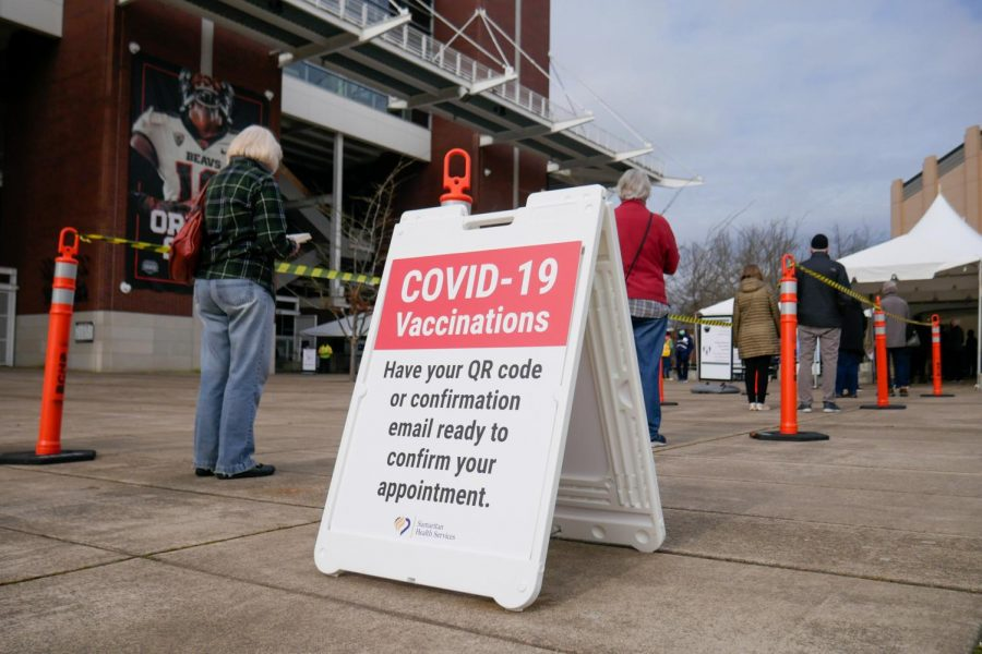 Corvallis residents awaiting COVID-19 vaccinations in front of Reser Stadium. On February 17, FEMA announced that Benton County would receive $3.1 million in federal funding to support COVID-19 vaccination centers.