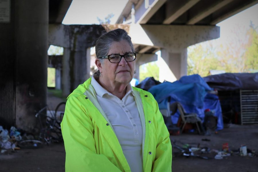 City of Corvallis Ward 1 Council Woman Jan Napack can be seen by homesteads underneath the Corvallis bridge. The city of Corvallis has passed legislation around these homestead with a focus on relocation and safety for taxpayers.
