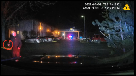 Appelt marches towards an officer moments before he is fatally shot by a CPD officer. Appelt appears to be brandishing something the CPD says is a knife. Red Circle is a part of the video provided to The Daily Barometer by the CPD and the Benton County DA's office.