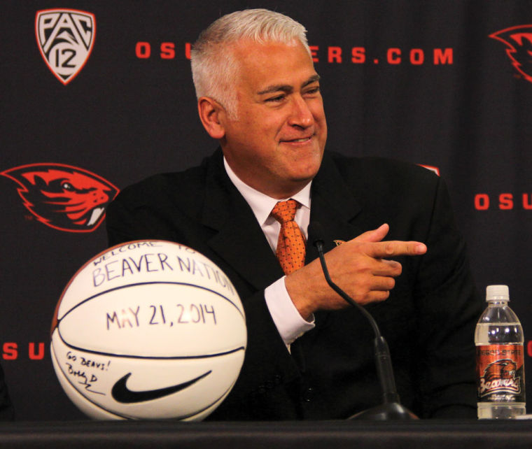 In this file photo from 2014, Oregon State Mens Basketball Head Coach Wayne Tinkle poses for a photo at his introductory press conference. Tinkle recently received a contract extension, keeping him as the Beavers head coach through the 2027 season.