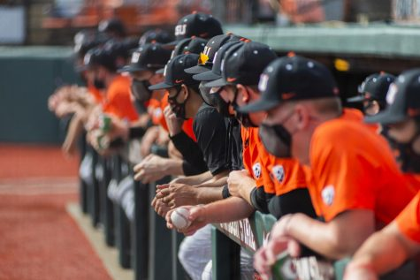 Oregon State Beavers Baseball anxiously watching from the bullpen. Despite the lack of crowds in Goss Stadium due to Covid-19, the teams cheers were heard loud and clear.