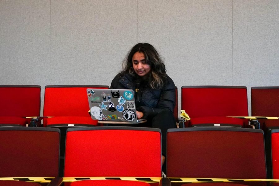 OSU Junior Aanchal Vidyarthi studies in an empty classroom at the LINC. Vidyarthi regularly visits campus to study in new spaces because it helps her focus better.