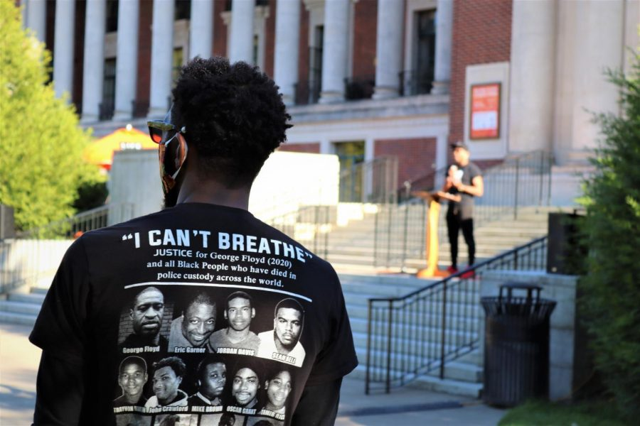 Jason Dorsette,Associate Director for Strategic Communication at OSU, can be seen on looking as Terrence Harris, Assistant Director of the Lonnie B. Harris Black Cultural Center. With hate being a pervasive aspect of society Terrence spoke on peace above all at the rally.
