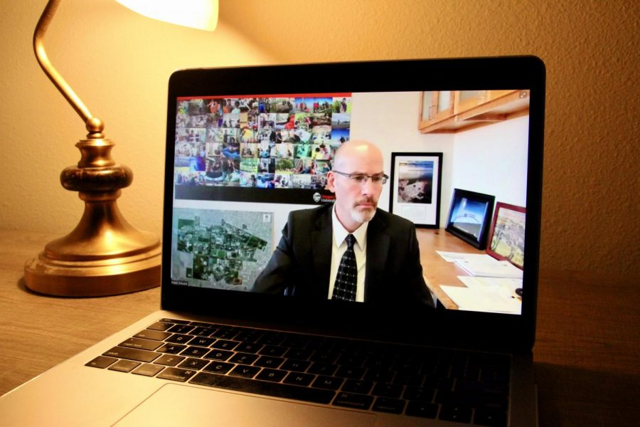 Acting Oregon State University President Edward Feser presents Enterprise Risk Management via Zoom to the OSU Board of Trustees and Committees on April 1.