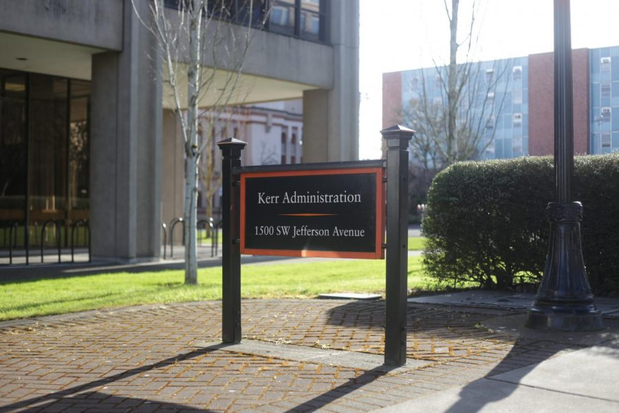 Sign in front of the Kerr Administration Building at the corner of NW 15th St. & Jefferson Way. This campus building deals with Oregon States finance and administration within the school.