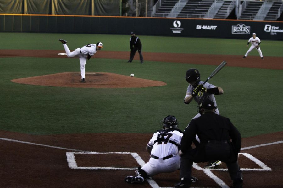 In this photo from March 12, OSU pitcher Kevin Able pitches a strike in the third inning of the OSU vs UofO triple header series. Abel started for the first game of the teams series vs Cal, helping the Beavers to a 15-8 win.