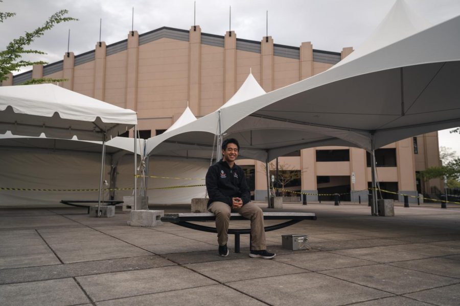 Dave So, current Oregon State University student majoring in mechanical engineering, volunteered at the Reser Stadium Clinic to contribute to the vaccine distribution in Corvallis, Ore.