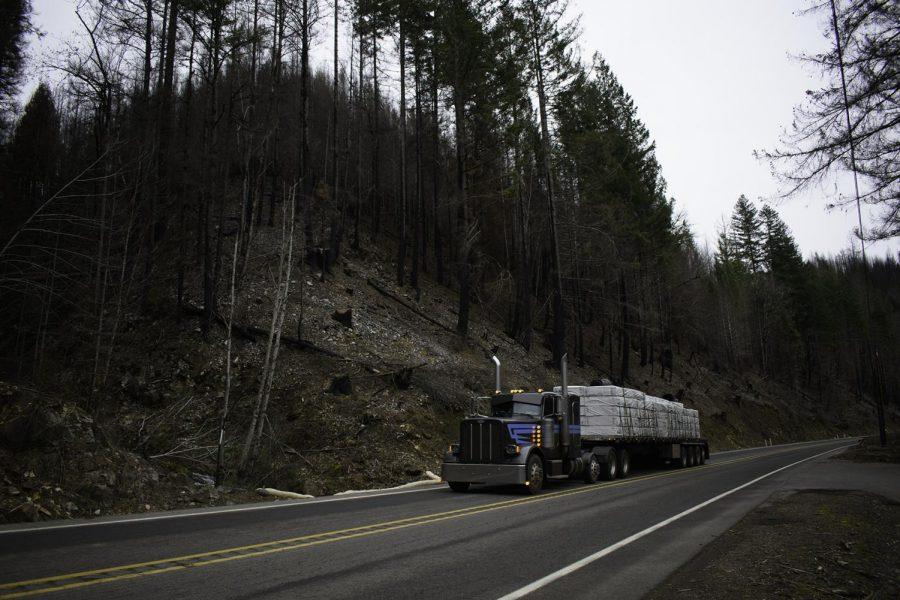 On a gloomy Thursday afternoon on Feb. 11, Highway 126 still shows damage from the Holiday Farm Fire. The Holiday Farm Fire was reported to have started on Sep. 7, 2020, and was estimated to be contained on Oct. 29, 2020.