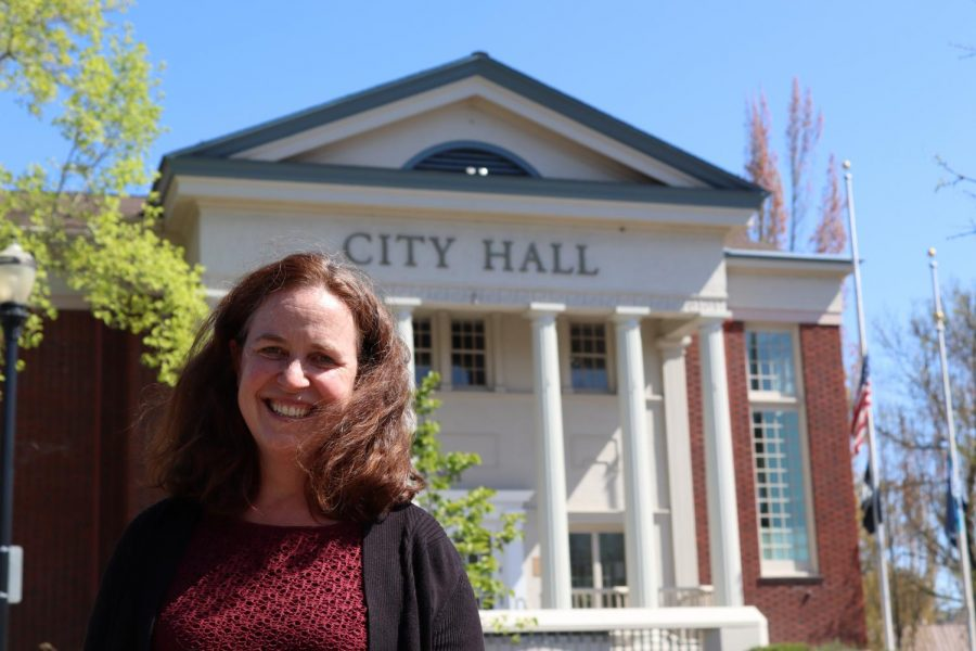 Brigetta Olson, a low-income housing developer for the city of Corvallis, can be seen in front of the Corvallis City Hall. With Covid-19 putting peoples housing at risk, their is resources for tenants to resolve disputes with local landlords.