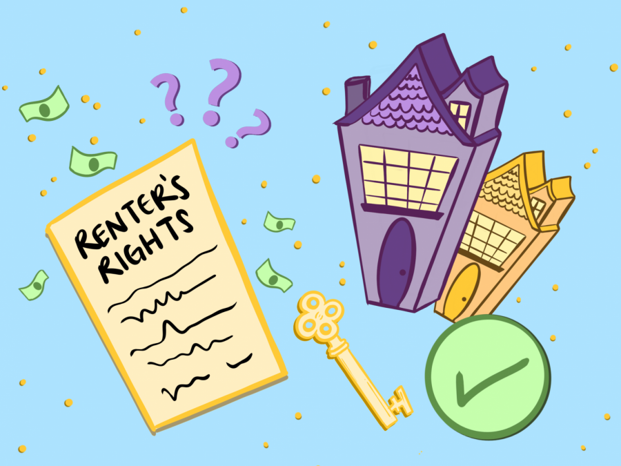 This illustration represents how renters rights are not always clear to student renters. With thehelp of Associated Students of Oregon State University's Student Legal Services, they can save money and avoid disputes with their landlord.