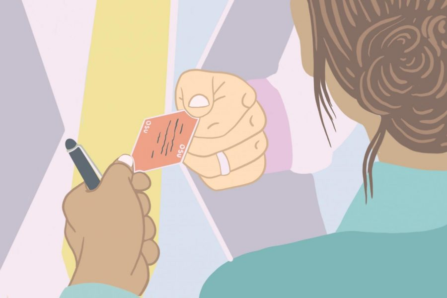 This illustration shows a woman handing her business card to another professional in her industry. Networking is a critical step to infiltrating the job market.