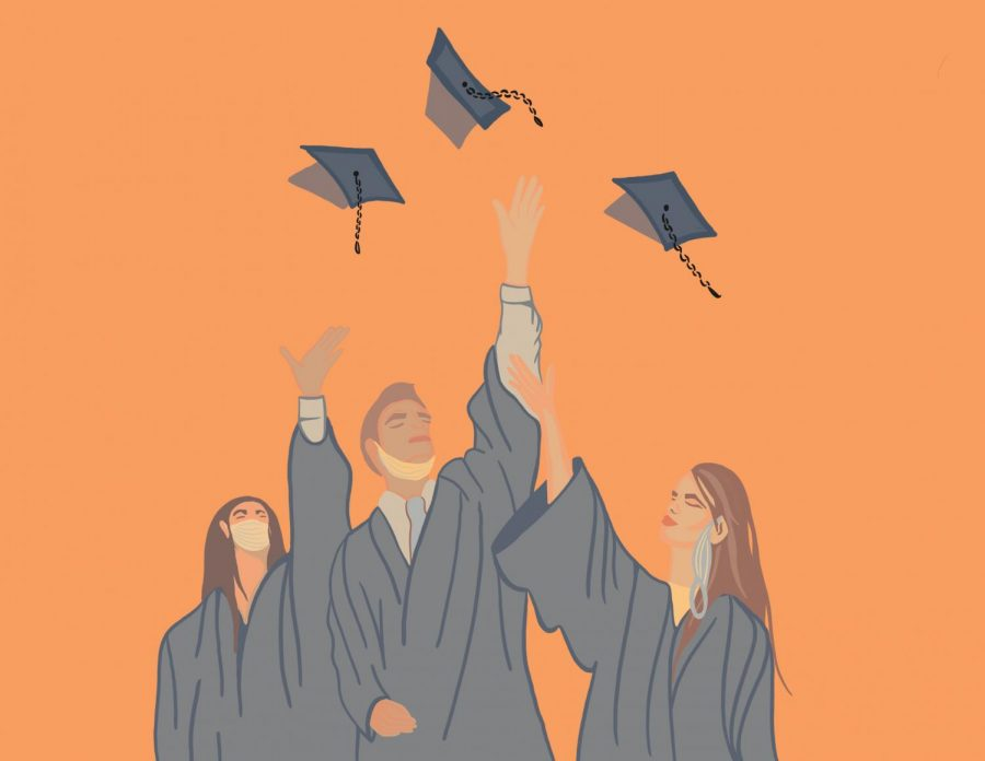 This illustration shows three Oregon State Graduates celebrating commencement. They are shown against an orange background to represent the ambiguity in what/how graduates are celebrating this year.