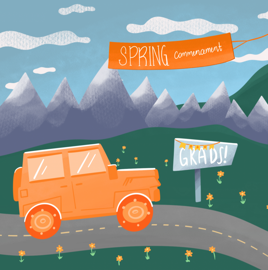 This illustration depicts an option for students graduating in spring 2021 to drive through in-person or attend virtual celebration events. This event is forstudents from the Oregon State University Cascades campus in Bend, Ore.