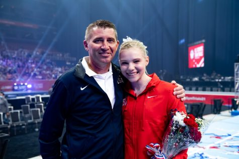 Jade Carey (right) poses for a photo at the US Olympic Team trials.Carey, a Team USA gymnast since 2017, earned a spot on the gymnastics team as a vault specialist and will enter the Olympics as one of two individual competitors.