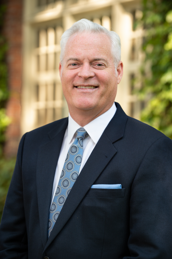 Tim Carroll, the incoming Oregon State University Sara Hart Kimball dean of the College of Business, can be seen in this photo illustration as he prepares for his work leading with OSU. Carroll will begin his position at OSU on July 30.