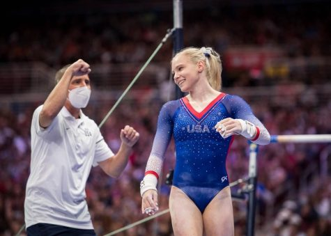Jade Carey, a Beaver Gymnastics signee, finishes a routine on the uneven bars for the U.S. Olympic Team trials. Carey, a Team USA gymnast since 2017, earned a gold medal in the finals for floor routine at the Tokyo Olympics on Aug. 2.