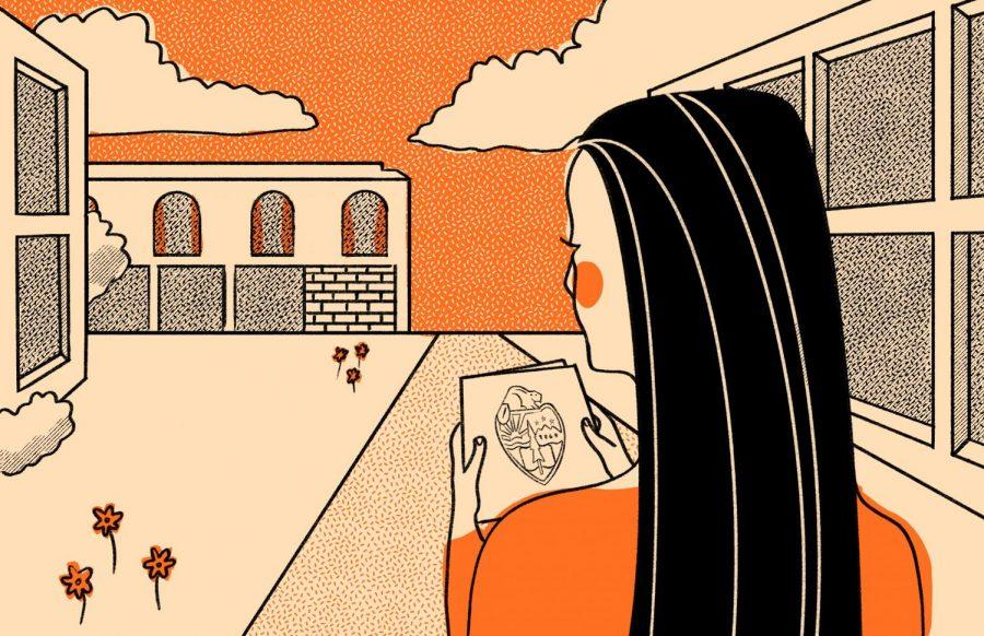 This illustration depicts a student looking out at the Oregon State University campus. The Dr. Larry Griggs Office of Black and Indigenous Student Success is hosting their first campus event Saturday for incoming Black and Indigenous students and their families to attend.