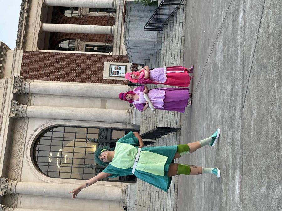 """From left to right, Abrianna Feinauer as Dromio of Ephesus, Hannah Schwartz as Luciana and Samantha Johnson as Adriana during a dress rehearsal for Bard in the Quad.This summer, Bard in the Quad will take place in person with """"Comedy of Errors,"""" on August 5-8 and 12-15 in the Memorial Union Quad at 7:30 p.m."""