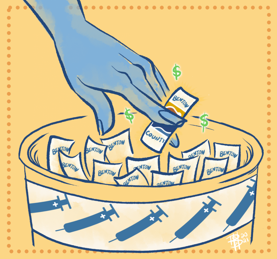 Illustration of a hand picking a lottery ticket from a bowl, for the Benton County lottery winner. All of the tickets are labeled Benton County, and the bowl has a pattern of vaccination syringes around the edge. More monetary incentives have been used across the state this summer to encourage citizens to receive the COVID-19 vaccine.