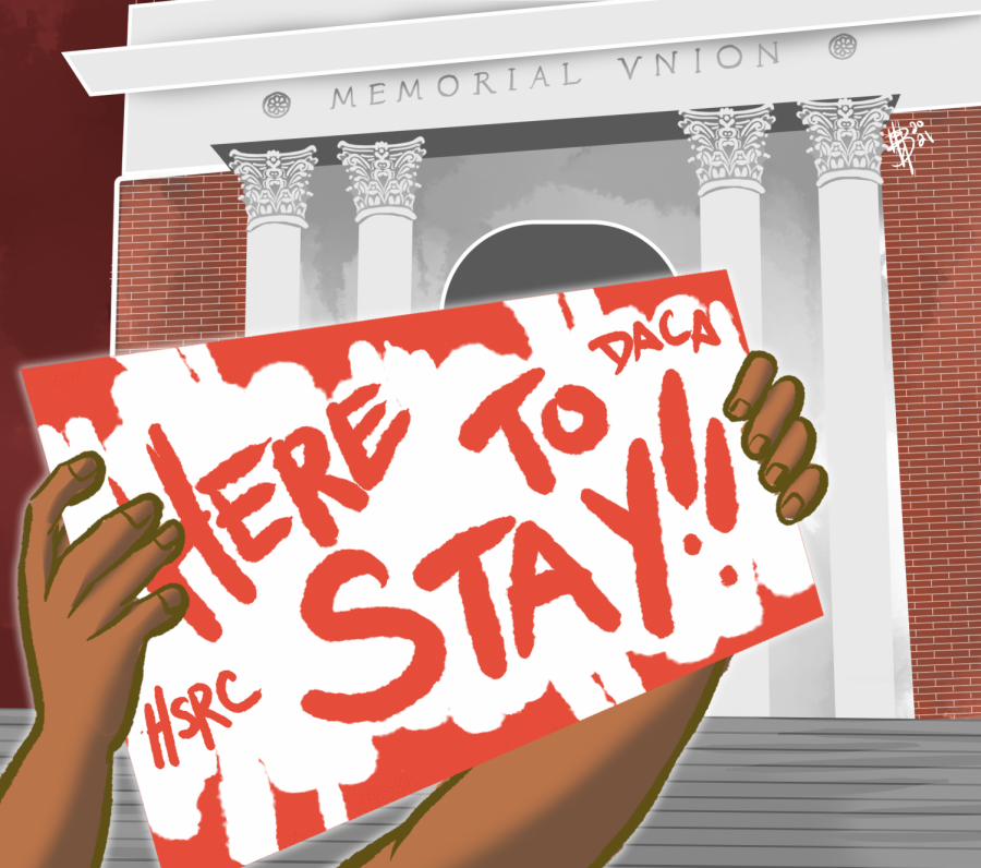 An illustration of hands holding up a sign saying Here To Stay, HSRC and DACA in front of the Memorial Union building at Oregon State University. OSUs Here to Stay and Human Services Resource Center are both organizations that support students with DACA status.