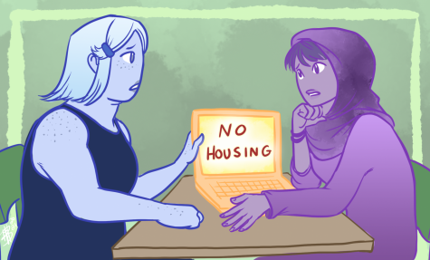 This illustration shows two students conversing about the availability of housing. For OSU students, finding affordable housing can be a struggle, with a rising demand and a slow growth in supply.