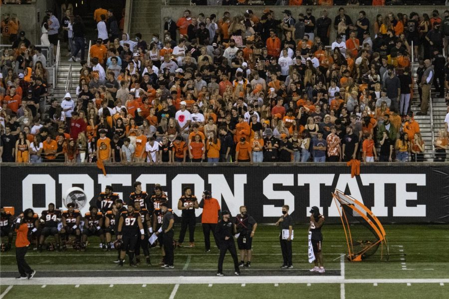 Fans cheering on the Oregon State Beavers as they face off against the Hawaii Rainbow Warriors on Sept. 11. This was the first time fans were allowed back inside Reser Stadium since November 2019, when the Beavers defeated the Arizona State Sun Devils, 35-34.
