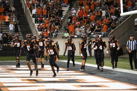 The Oregon State football team takes the field in their home opener against Hawaii. This was the first game back inside Reser Stadium with fans since November 2019.